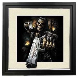 473 5D Skeleton Gunner 5d Lenticular Picture Frame 18x18