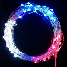 35ft LED Red White Blue fairies string light copper-wire Dual power -USB or 2AA Battery