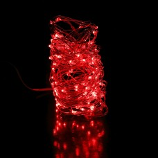 35ft LED RED fairies string light copper-wire Dual power -USB or 2AA Battery