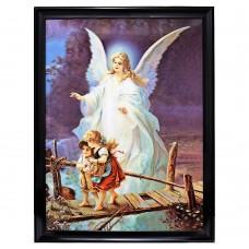 "6012 Guardian Angel 3D Lenticular w/ frame  size 26"" x 34"""