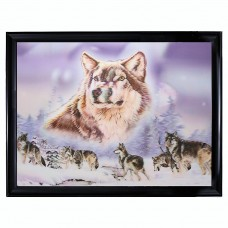 "6069 Wolves in Snow 3D Lenticular w/ frame  size 26"" x 34"""