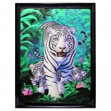 "6107 white tiger 3D Lenticular w/ frame  size 26"" x 34"""