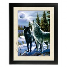 274 Howling wolf 5D Picture  Frame size 14x18