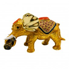JF2668 Crystal Elephant with wood trunk Jewelry Case