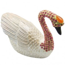 JF1689 Swan Large Size Trinket Box Hinged Hand-Painted with Crystal Figurine Animal Ring Holder Ornaments Craft Gift for Home Decor (Purple)