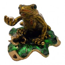 JF3697 Brown Frog on Leaf  Jewelry Case