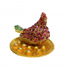 JF8039 Red Rooster Chicken Jewelry Case