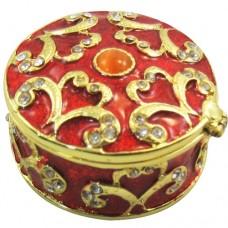 JF8048 Rred Round Box Jelwelry Case