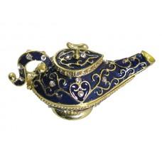 JF8227 vintage Blue Enamel Aladdin Lamp Jewelry Case